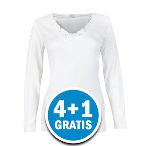 Beeren Beatrix Dames Shirt Lange Mouw Wit  Voordeelpakket