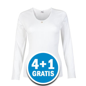Beeren Dames M3000 Shirt Lange Mouw Wit  Voordeelpakket