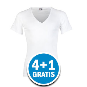 Beeren Heren M3000 T-shirt Diepe V-hals Wit Voordeelpakket
