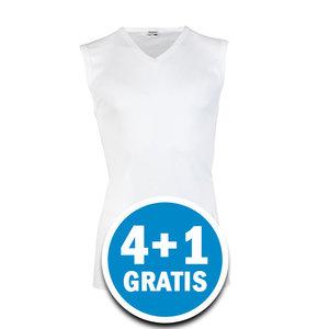 Beeren Heren Mouwloos Shirt V-hals Wit  Voordeelpakket